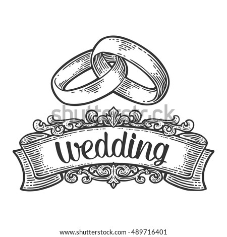 Wedding Rings Lettering Hand Drawn Graphic Stock Vector 2018