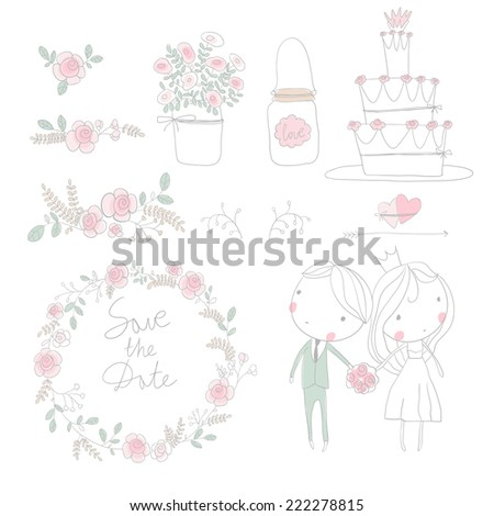 Wedding romantic collection with bride, groom, labels,  hearts, flowers, arrows, wreaths, laurel and birds.  - stock vector