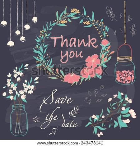 Wedding romantic collection with floral decorations. Hand drawing vintage set on chalkboard background. Vector illustration. - stock vector