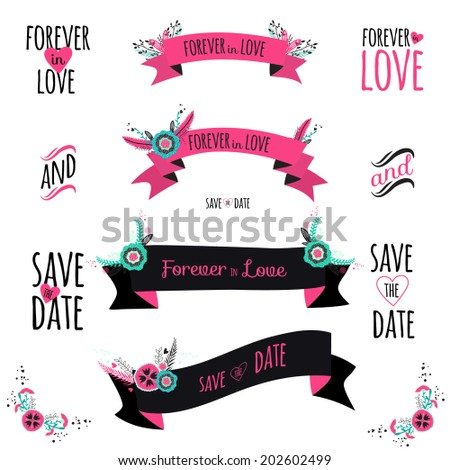 Wedding romantic collection with greeting labels, ribbons, hearts, flowers, arrows, wreaths, laurel. Vintage romantic flowers set. Stylish save the Date invitation in bright colors in vector. - stock vector