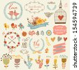 Wedding romantic collection with labels, ribbons, hearts, flowers, arrows, wreaths cage, birds, laurel and birds. Graphic set in retro style and bright colors. Save the Date invitation in vector. - stock
