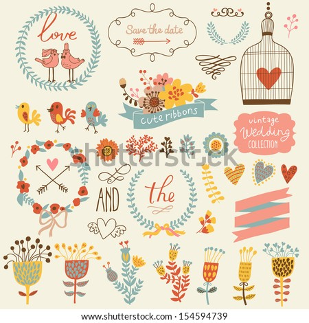 Wedding romantic collection with labels, ribbons, hearts, flowers, arrows, wreaths cage, birds, laurel and birds. Graphic set in retro style and bright colors. Save the Date invitation in vector. - stock vector