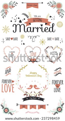 Wedding romantic set with greeting hand drawn labels, ribbons, hearts, flowers, arrows, wreaths, laurel. Vintage romantic flowers set. Stylish save the Date invitation in bright colors in vector - stock vector