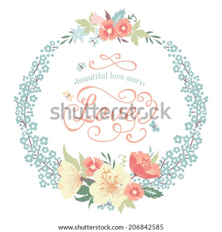 Wedding round floral frame with flowers in pastel colors. Vector illustration. - stock vector