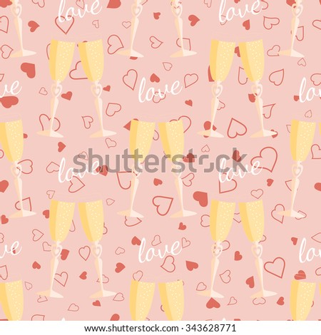 Wedding seamless pattern glasses with champagne. Element for your wedding designs, valentine s day projects, and other your romantic projects. - stock vector