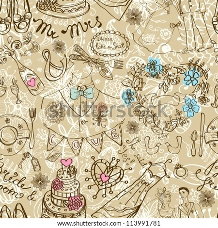 Wedding seamless pattern with doodles, illustration, vector