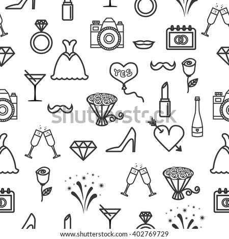Wedding seamless pattern with line icons on white background. Wedding icons seamless pattern. Pattern with diamonds, lips, shoes, lipsticks, wedding rings, bouquets,     dresses and high heels.  - stock vector