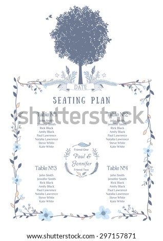 Wedding Seating Chart. Includes Tables List, Tree, Birds and Floral Frame. Vector Illustration with Flat Design. - stock vector