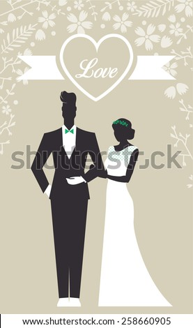 Wedding Set card - Just Married - stock vector