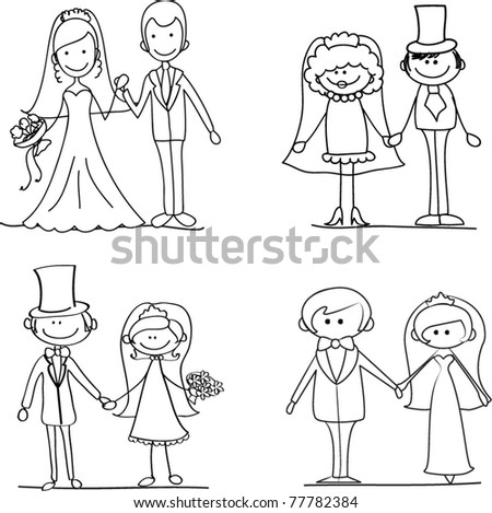 wedding set - couple standing and holding hands - stock vector