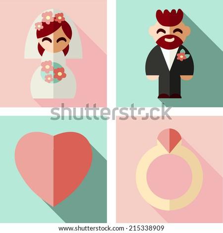 Wedding set. Flat picture. Groom. Bride.  - stock vector