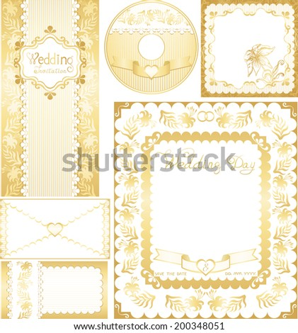 Wedding set. Golden backgrounds with lilies flowers. Ornamental frame for announcements, invitations, CD-disks, envelopes, labels, greetings cards. Easily edited vector format for your project. - stock vector