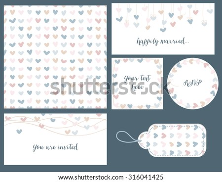 Wedding set hearts design, seamless pattern, tags and frames for invitations - stock vector