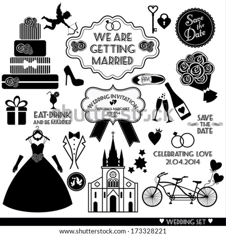 Wedding set icon - stock vector