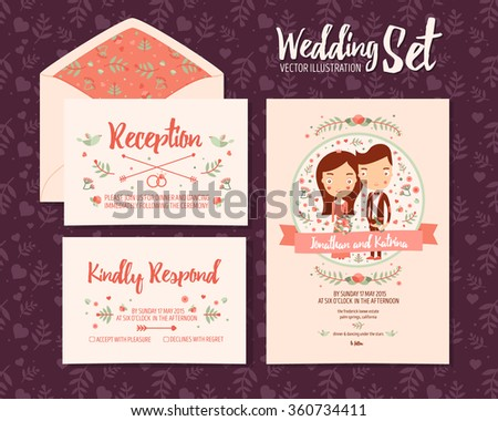 wedding set invitation 3 vector illustration stock vector 360734411 shutterstock. Black Bedroom Furniture Sets. Home Design Ideas