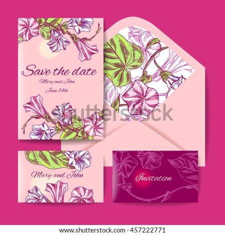 Wedding set. Menu, save the date, guest card, envelope. Beautiful hand drawn flowers. Vintage vector illustration. - stock vector