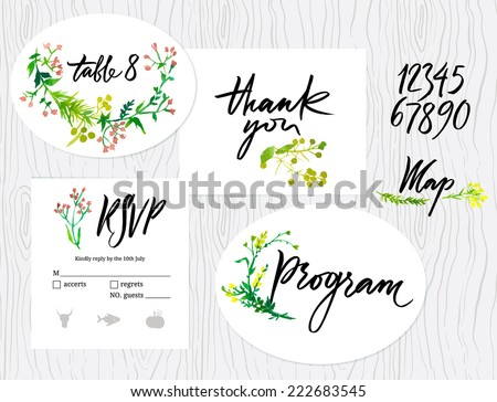 Wedding set of cards, menu, map envelope, invitation templates. Floral pattern. Calligraphic inscriptions - stock vector