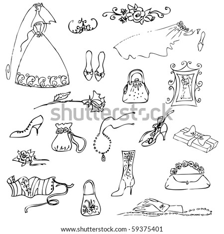 Wedding set of cute glamorous doodles - stock vector