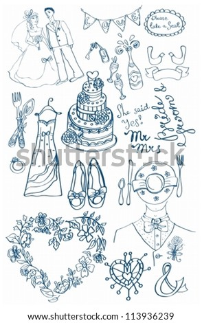 Wedding set of cute glamorous doodles for your design, vector - stock vector