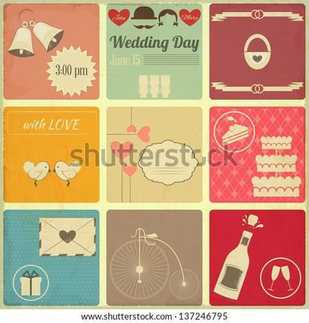 Wedding Set of Retro Cards. Vintage Design, Square Format. Vector Illustration. - stock vector