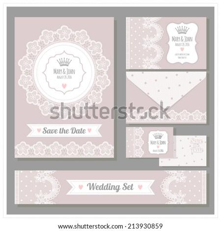 Wedding set. Stationery design set in vector format. - stock vector