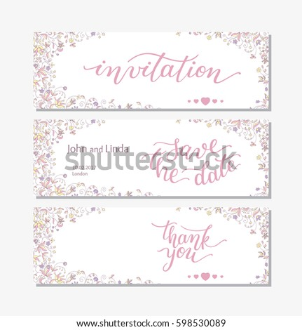 Beautiful green gift certificate templates nice stock vector wedding set template with flowers and hand lettering invitation thank you save the yelopaper Images