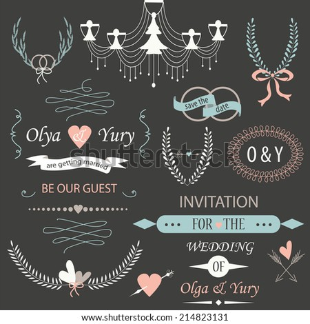 Wedding set with laurels, calligraphic elements, rings, bows, ribbons, arrows and chandelier - stock vector