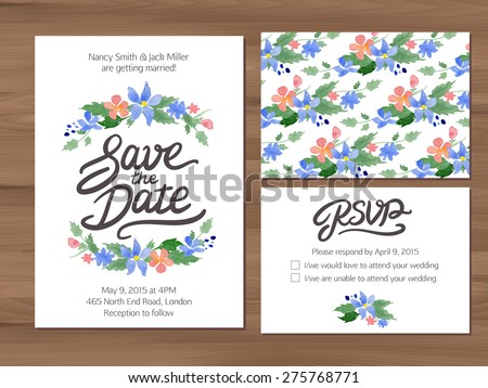 Wedding set with watercolor flowers. Save the date invitation, RSVP card, seamless floral background. Seamless illustrator swatch for background included. Free font used - Afta sans. - stock vector