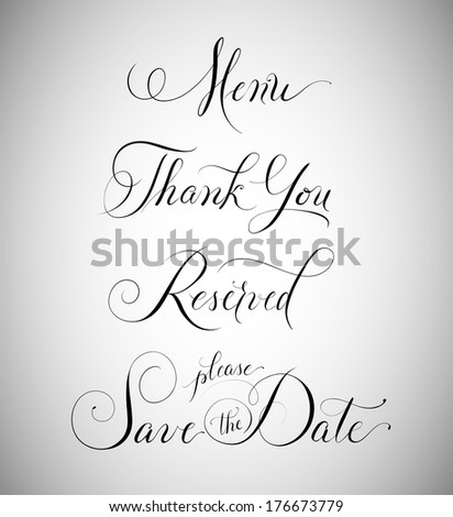 Wedding signage: menu, thank you, reserved, save the date - stock vector