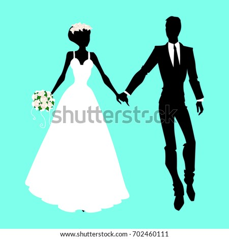 Wedding silhouettes. Vector illustration.