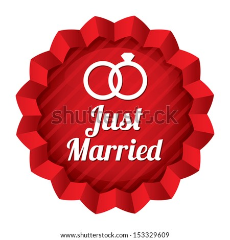 Wedding star. Just married sticker with rings. Engagement vector illustration. Isolated on white. - stock vector