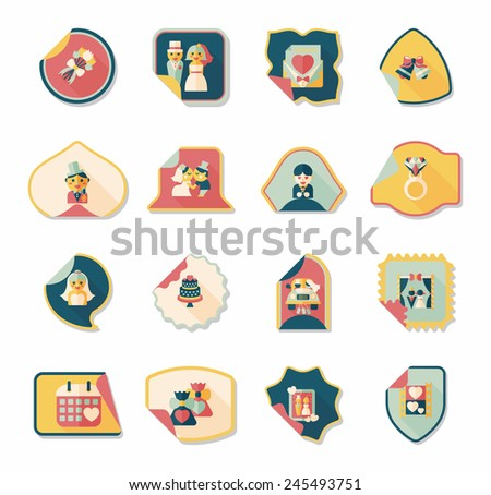 Wedding sticker flat design background set, eps10
