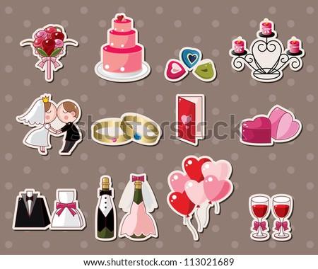 wedding stickers - stock vector