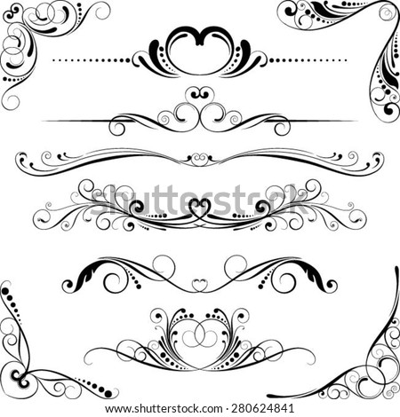 Wedding swirl floral element - stock vector