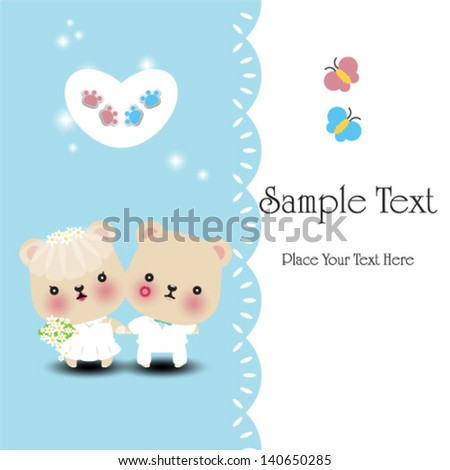 Wedding teddy bears - vector illustration - stock vector