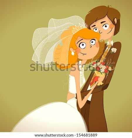 Wedding. The bride and groom are looking at us. Bride is holding a bouquet of flowers. - stock vector