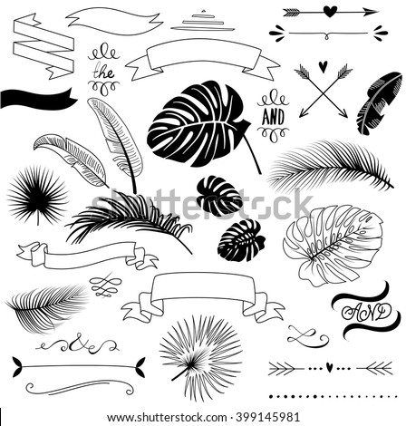 Wedding Tropical Palm leaves graphic set, arrows, hearts, laurel, wreaths, ribbons and labels.  - stock vector