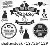Wedding Vector Badges and Labels in Retro Style - stock vector