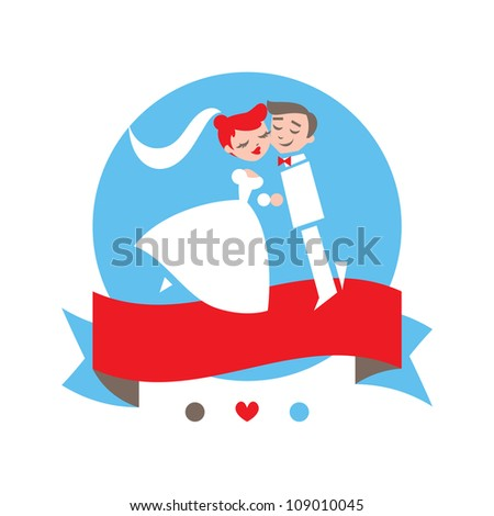 Wedding vector characters with banner. - stock vector