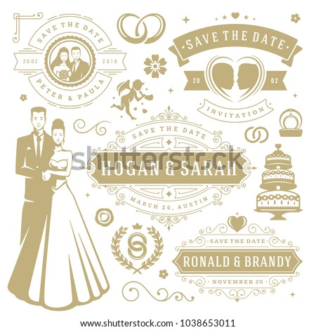 Wedding vector design elements objects set stock photo photo wedding vector design elements and objects set vintage save the date labels and badges junglespirit Images