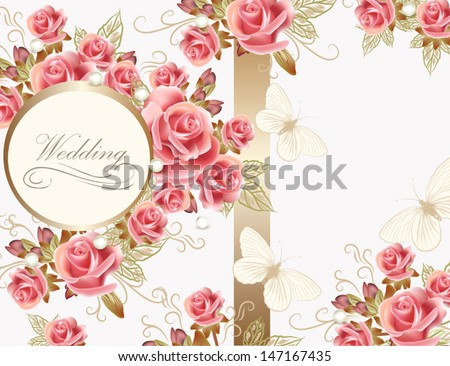 Wedding vector greeting card with pink roses in vintage style for design - stock vector