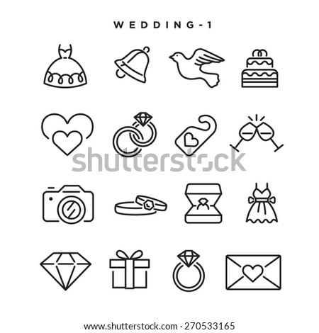 Wedding vector icons. Elements for print, mobile and web applications. - stock vector