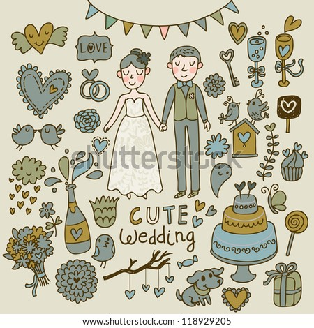 Wedding vector set. Cartoon illustration about marriage