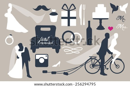 Wedding vector set with graphic elements. Vintage wedding invitation with bride and groom - stock vector