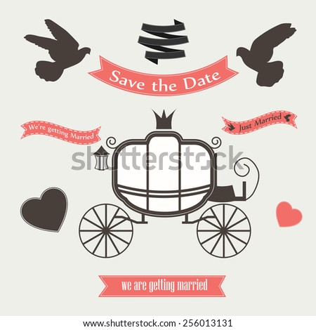 Wedding vector set with graphic elements. Wedding carriage and doves. Wedding carriage vector card. Wedding carriage marriage decoration. Wedding carriage invitation. Wedding carriage love transport. - stock vector