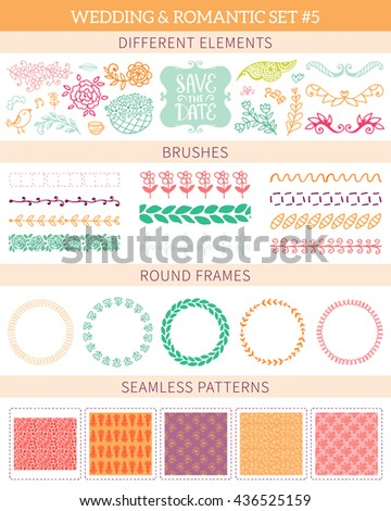 Wedding vintage big collection. Romantic hand drawn vector floral set with different elements.