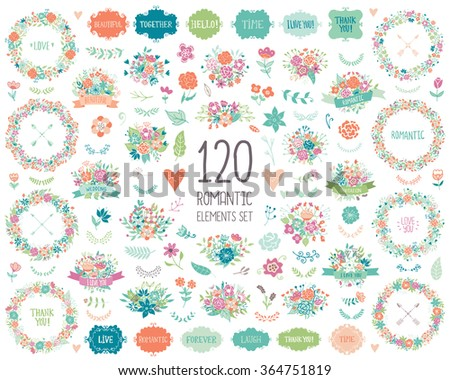 Wedding vintage elements collection. Romantic hand drawn vector floral set with frames, flowers, leaves and ribbons.  Save the Date and Invitation. - stock vector