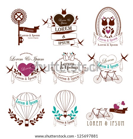 Wedding Vintage Elements Isolated On White Background - Vector Illustration, Graphic Design Editable For Your Design. Valentines Day Elements. Logo Symbols - stock vector