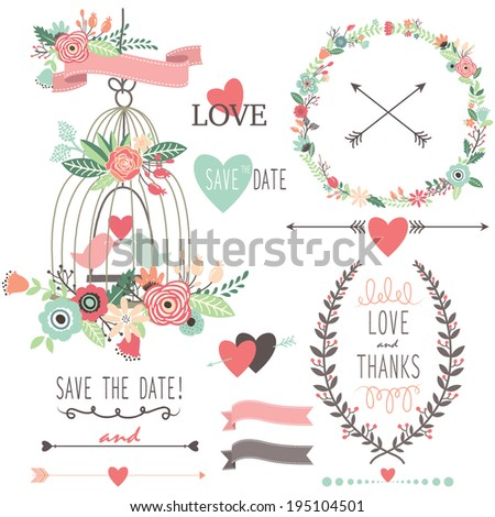 Wedding Vintage Flowers and Birdcage- Illustration - stock vector