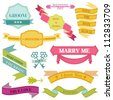 Wedding Vintage Frames, Ribbons and Design Elements - in vector - stock vector